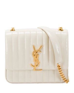 b4c286c3d5 Saint Laurent Vicky Monogram YSL Large Quilted Patent Chain Crossbody Bag