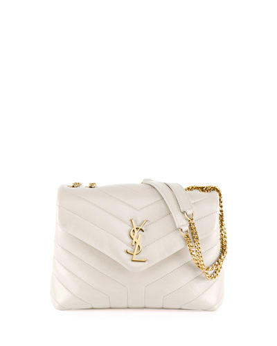 Loulou Monogram YSL Small V-Flap Chain Shoulder Bag - Lt. Bronze Hardware