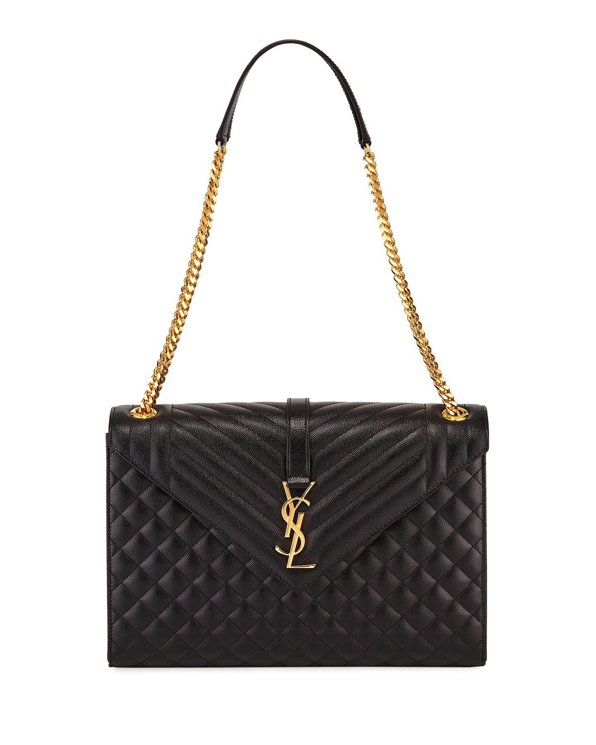 9ca2abacd937 Saint Laurent Monogram YSL V-Flap Large Tri-Quilt Envelope Chain Shoulder  Bag -