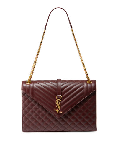 Monogram YSL V-Flap Large Tri-Quilt Envelope Chain Shoulder Bag - Golden Hardware
