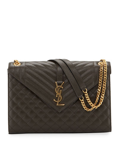 Monogram YSL V-Flap Large Tri-Quilt Envelope Chain Shoulder Bag - Golden ...