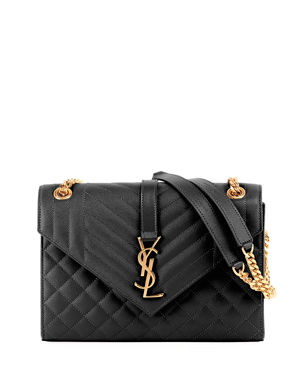 6b549ab70c Saint Laurent V Flap Monogram YSL Medium Envelope Chain Shoulder Bag -  Golden Hardware
