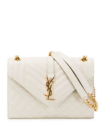 fc79fb1c72 Quick Look. Saint Laurent · V Flap Monogram YSL Medium Envelope Chain  Shoulder Bag ...