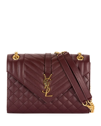 V Flap Monogram YSL Medium Envelope Chain Shoulder Bag - Golden Hardware