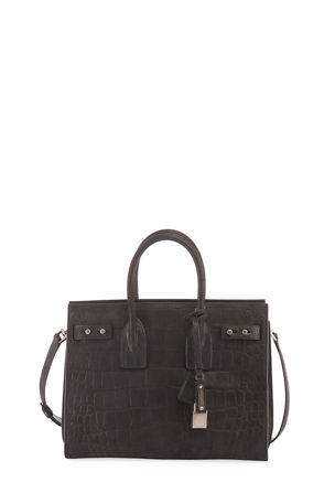Saint Laurent Sac de Jour Small Croco Carryall Bag