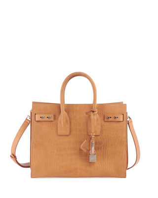 Small Sac De Jour Croc Embossed Leather Tote - Brown in Neutrals