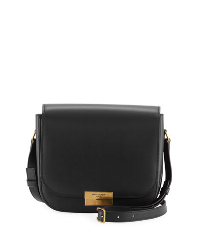 Medium Calfskin Leather Flap Crossbody Bag with Logo Lock