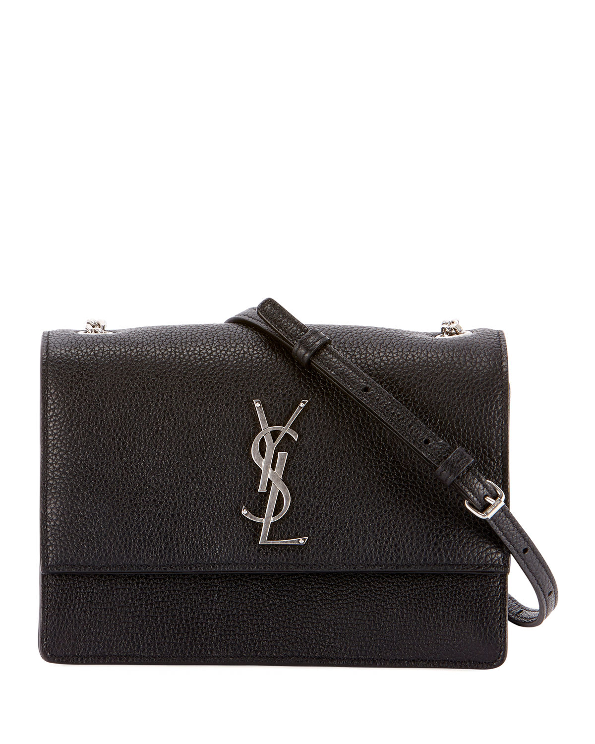 e544466988 Saint LaurentMonogram YSL Sunset Small Chain Pebbled Leather Shoulder Bag