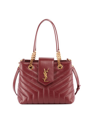 Monogram Ysl Loulou Small Quilted Leather Tote Bag - Lt. Bronze Hardware in Red