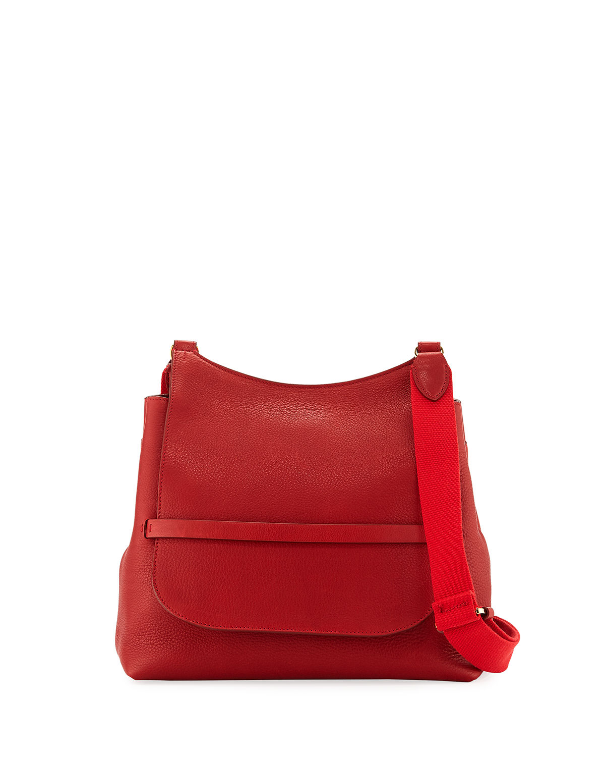 Sideby Grained Leather Shoulder Bag