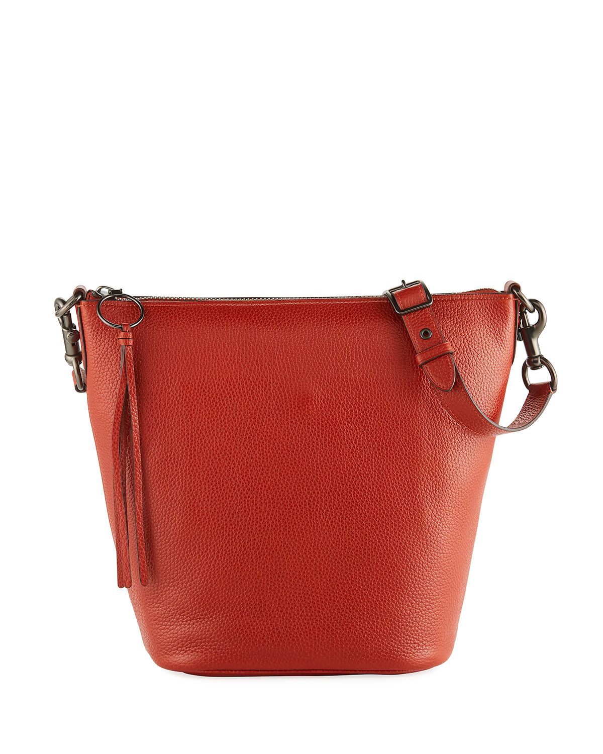 Glove-Tanned Pebbled Leather Bucket Bag