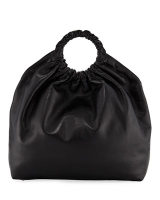 Double-Circle Leather Extra-Large Bag - Black