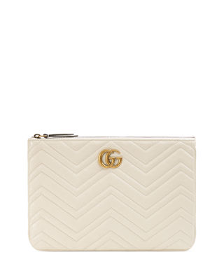 Gg Marmont Quilted Leather Zip Pouch Bag in White