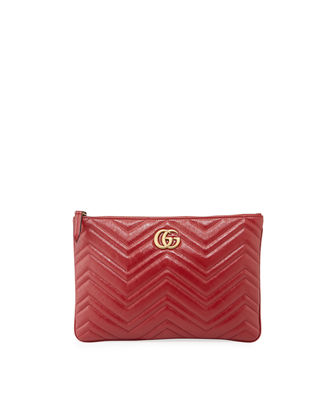 Gg Marmont Quilted Leather Zip Pouch Bag in Red