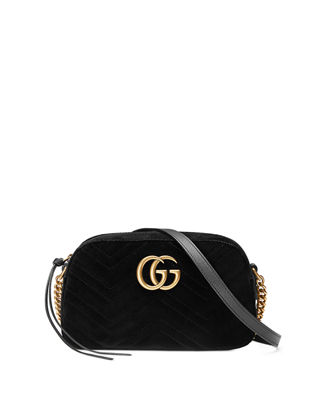 Gg Marmont Small Leather-Trimmed Quilted Velvet Shoulder Bag, Black