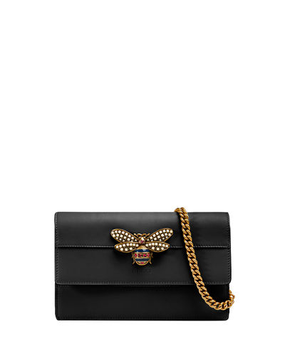Queen Margaret Leather Bee Wallet On Chain Bag