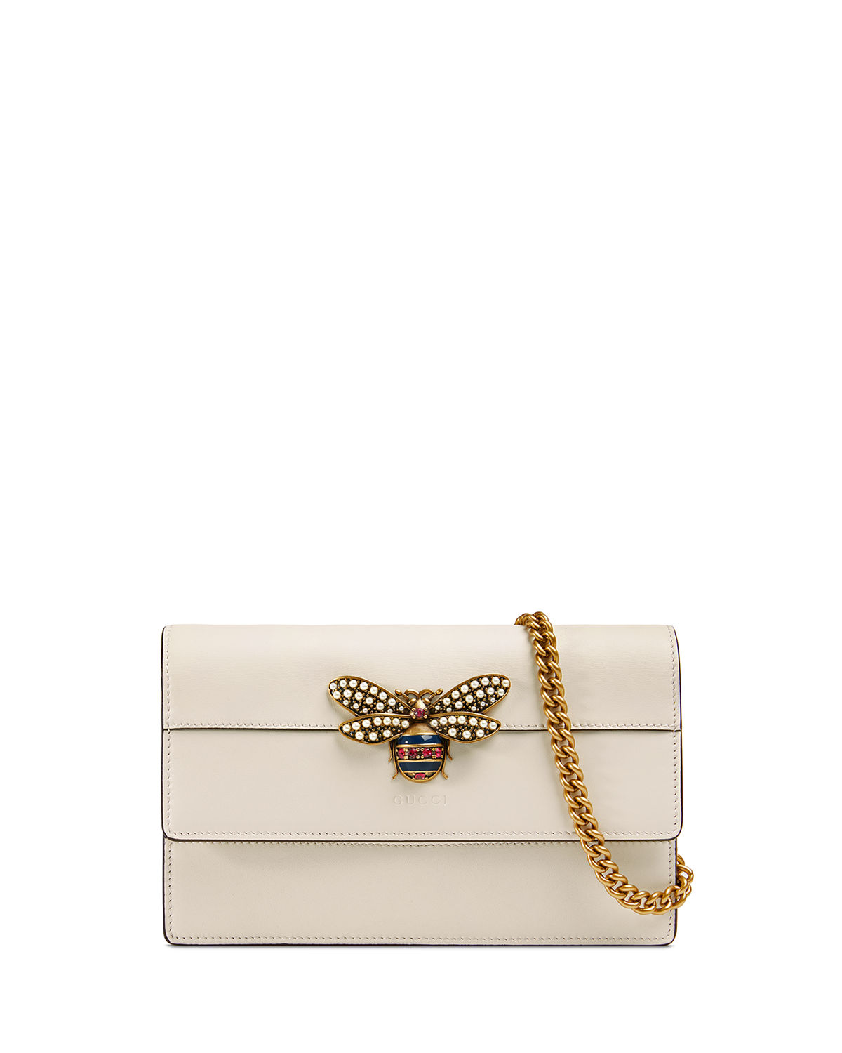 4f98a6471ef Gucci Queen Margaret Leather Bee Wallet On Chain Bag