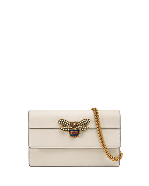 0eb74c7142a Gucci Queen Margaret Leather Bee Wallet On Chain Bag