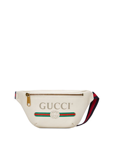 Gucci-Print Small Leather Belt Bag