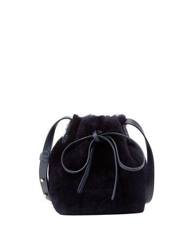 Mini-Mini Shearling Bucket Bag