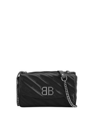BB ROUND QUILTED JACQUARD SHOULDER BAG