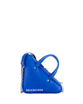 Extra Small Triangle Leather Bag - Blue
