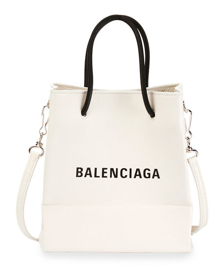 5f6c233c824 Balenciaga Small Logo Pebbled Leather Shopping Tote Bag In White ...