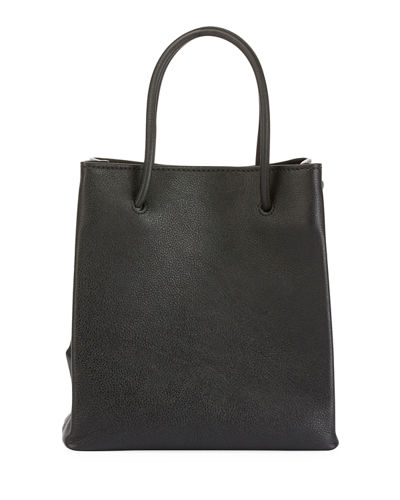 Small Logo Pebbled Leather Shopping Tote Bag