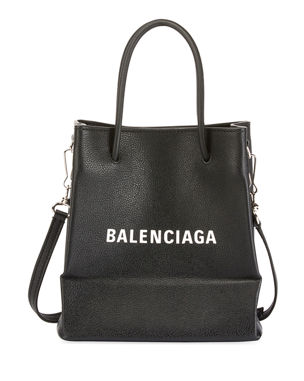 9663ba6ead15 Balenciaga Small Logo Pebbled Leather Shopping Tote Bag