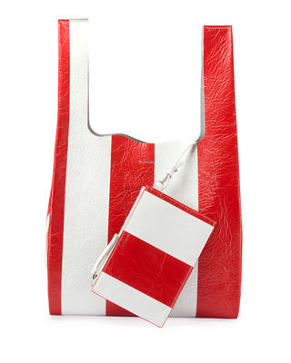 Arena Leather Bazar Extra-Extra-Small Shopper Tote Bag, Red/White