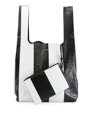 Supermarket Striped Shopper Hobo Bag