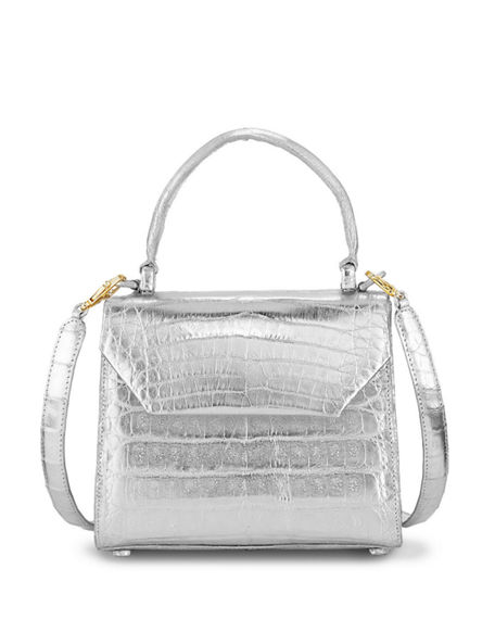 Image 1 of 3: Nancy Gonzalez Crocodile Small Flap Top-Handle Crossbody Bag