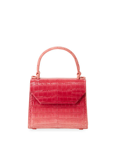 Crocodile Small Flap Top-Handle Crossbody Bag