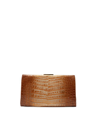 Nancy Gonzalez Colette Crocodile Slim Exposed-Frame Clutch Bag