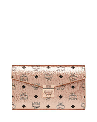 Patricia Visetos Large Wallet On Chain In Champagne Synthetic Material in Tc