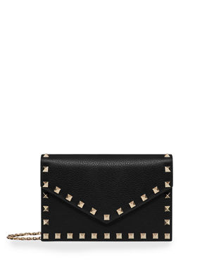 e6374fb383 Valentino Garavani Rockstud Small Leather Flap Wallet on a Chain