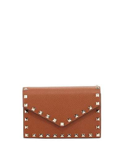 Rockstud Small Leather Flap Wallet on a Chain