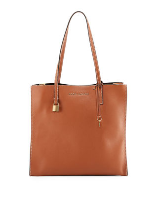 The Grind East/West Leather Shopper - Brown, Saddle
