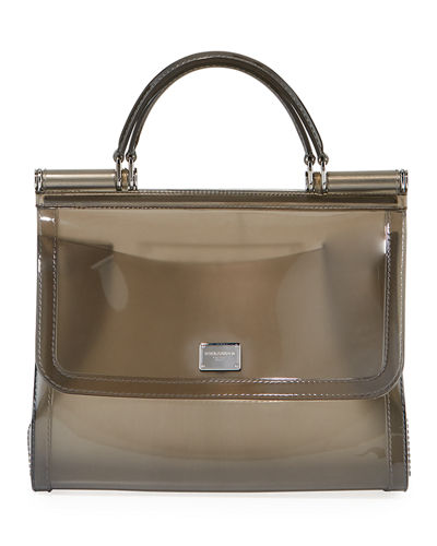 Sicily Large Plus Gomma Plexi Top-Handle Bag