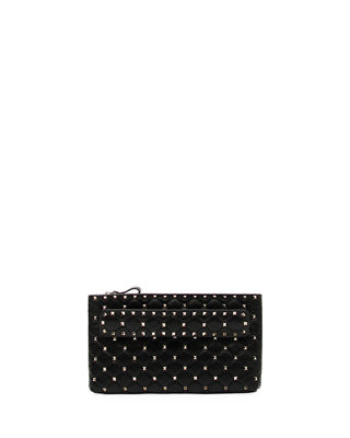 Rockstud Spike Quilted Leather Clutch Bag in Black
