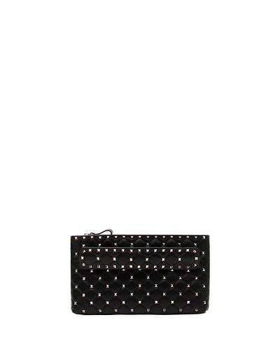 Rockstud Spike Quilted Leather Clutch Bag