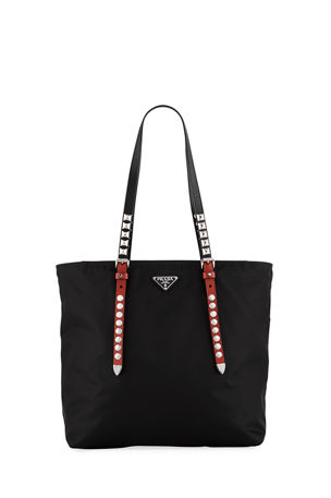 Prada Prada Black Nylon Shopper with Studding