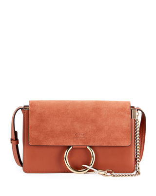 FAYE SMALL LEATHER/SUEDE SATCHEL BAG