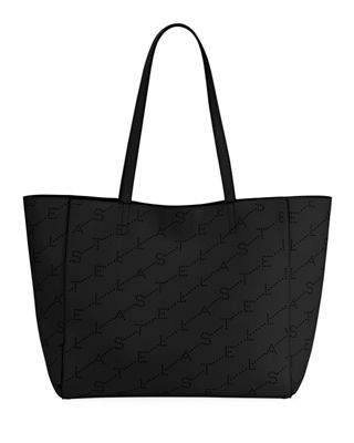 Small Logo Faux Leather Tote - Black