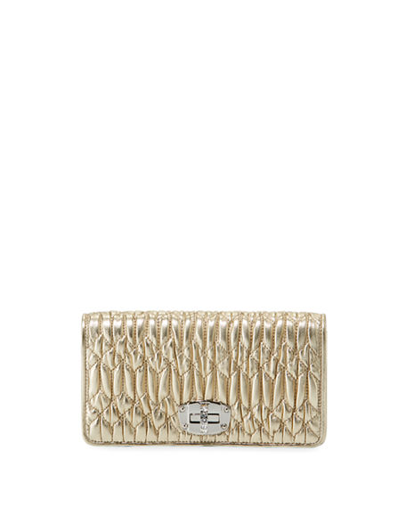 Miu Miu Napa Leather Wallet on a Crossbody Chain with Crystal Clasp