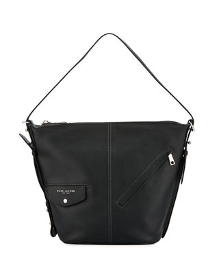 MARC JACOBS THE SLING CONVERTIBLE LEATHER HOBO - BLACK
