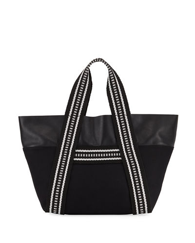 Convertible East-West Canvas/Leather Tote Bag