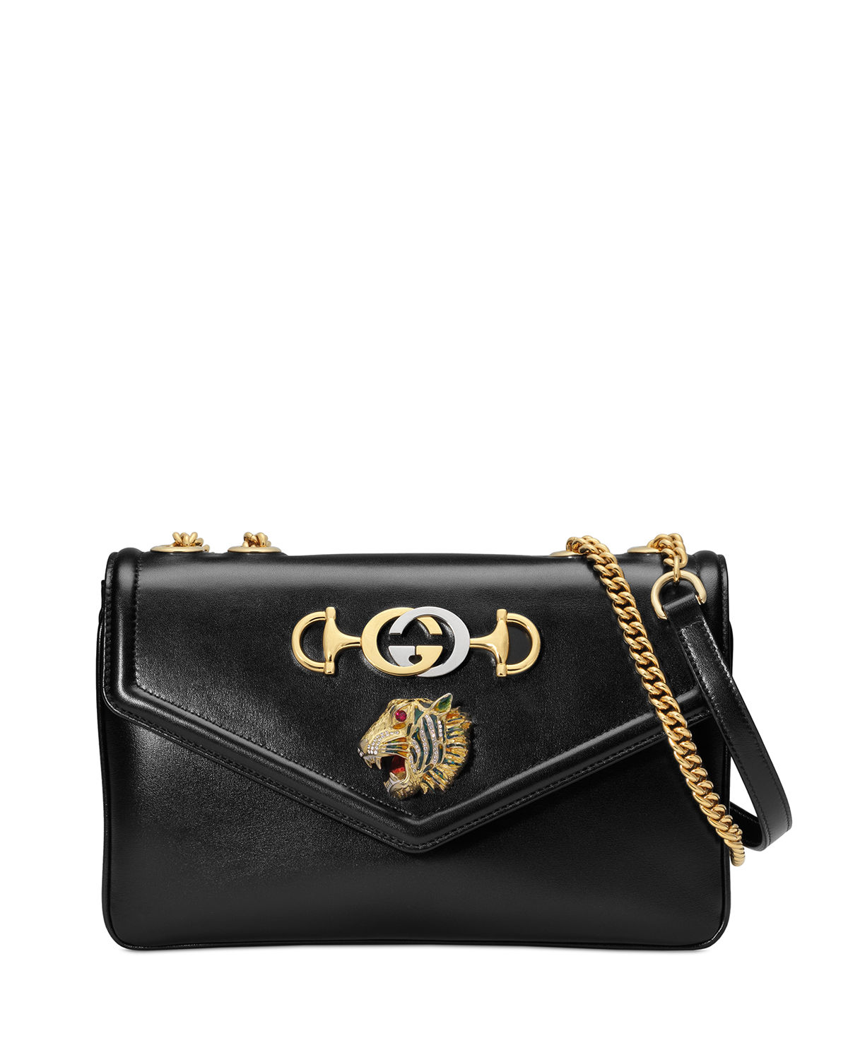 f84057a9c07f Gucci Linea Rajah Medium Leather Shoulder Bag