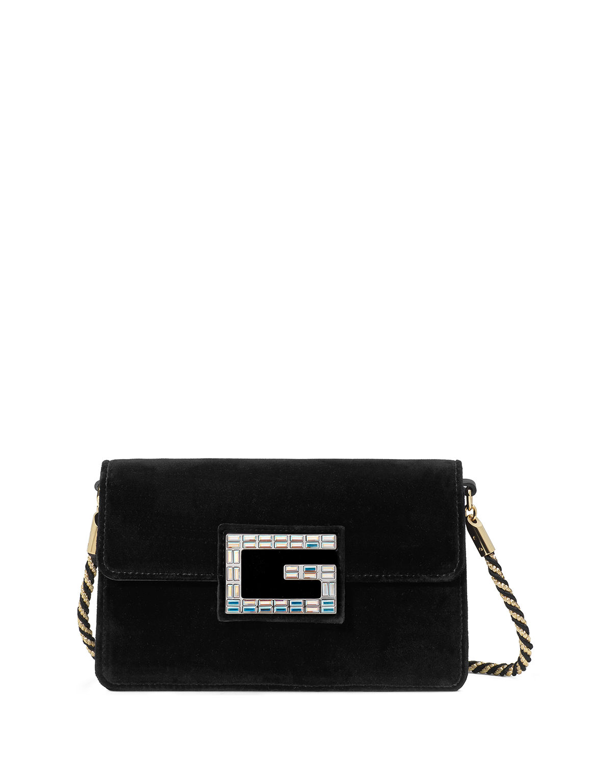 10ea8a7a3fc Gucci Broadway Small Velvet Shoulder Bag with Square G