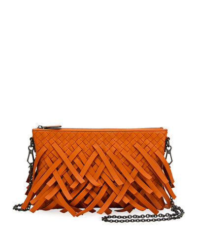 Palio Fringe Woven Leather Zip-Top Pouch Crossbody Bag